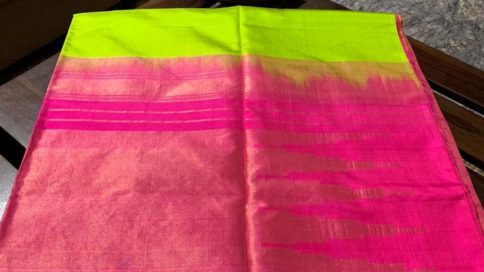 Green Pink Kanjeevaram Silk Saree