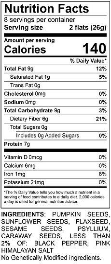 Ella's Flats Hemp Nutrition Label