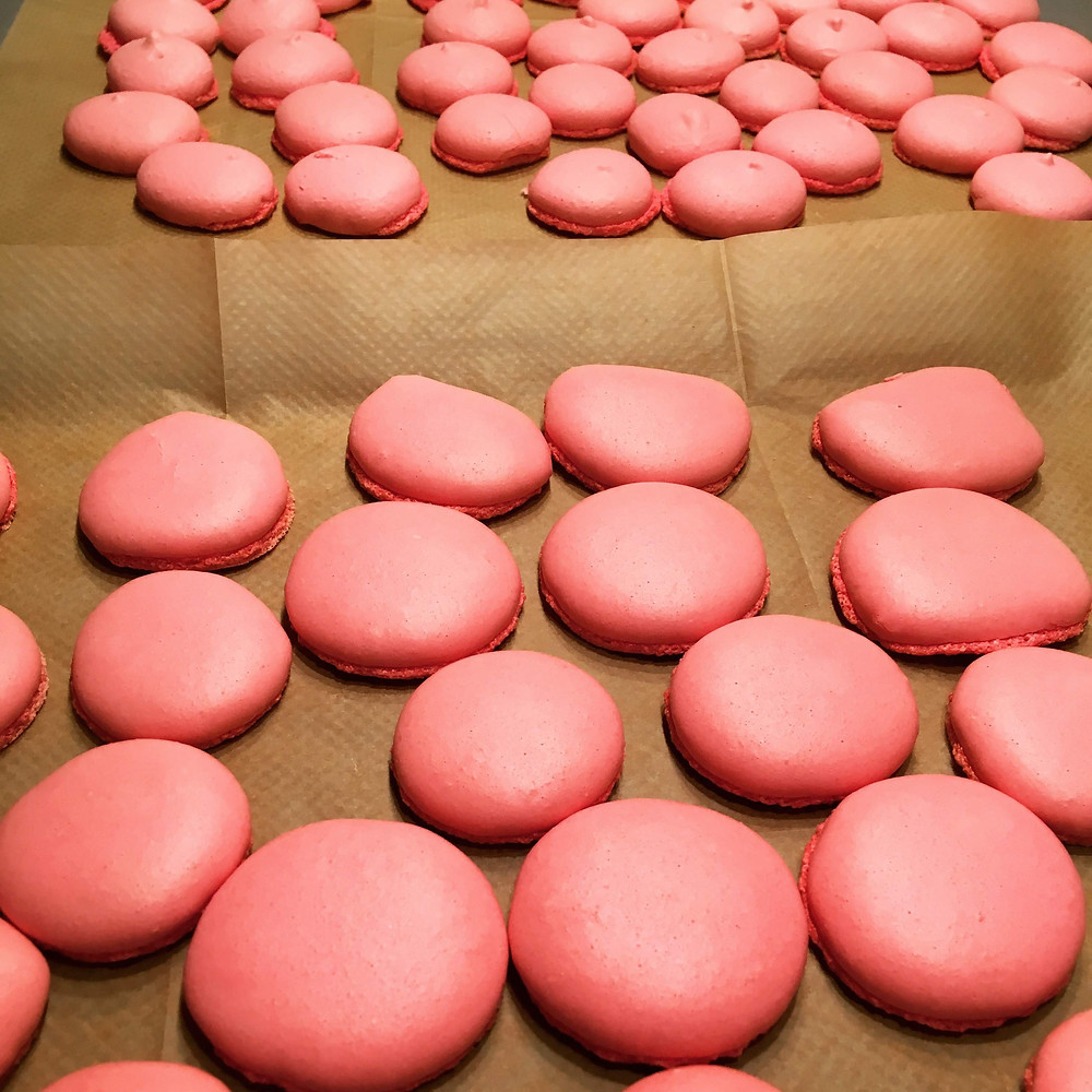 Saffron's Table - French Macarons - Vanilla with Strawberry Rhubarb Buttercream Filling