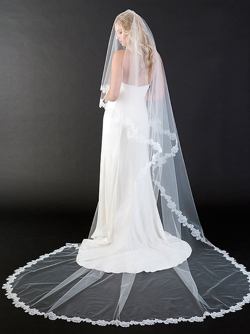 2-Tier Cathedral Length Veil with Soft Chantilly Lace - BAV7441C