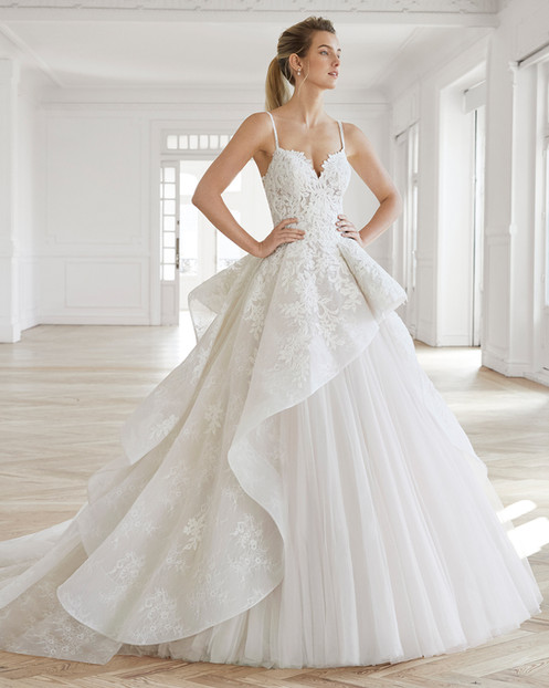 527347c7b3 PRODUCT INFO. Princess-style beaded lace and tulle wedding dress with sweetheart  neckline and full skirt.