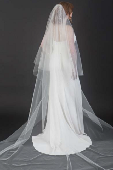 2- Tier Cathedral Veil with Stardust of Rhinestones - BAV7444C