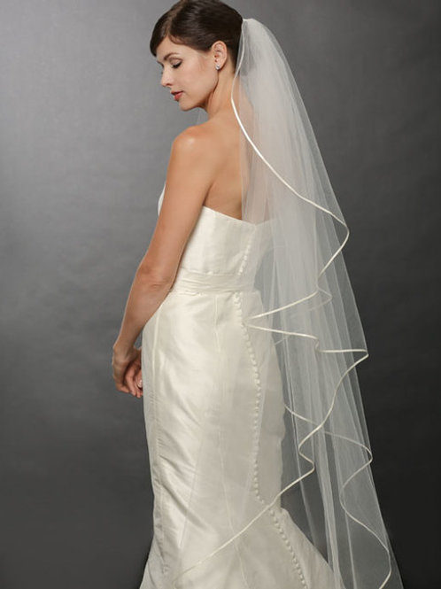 Cascading Ribbon Floor-Length Veil - BAV7250