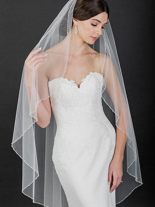 1-Tier Knee Length Veil with Pearls and Crystals - BAV7531