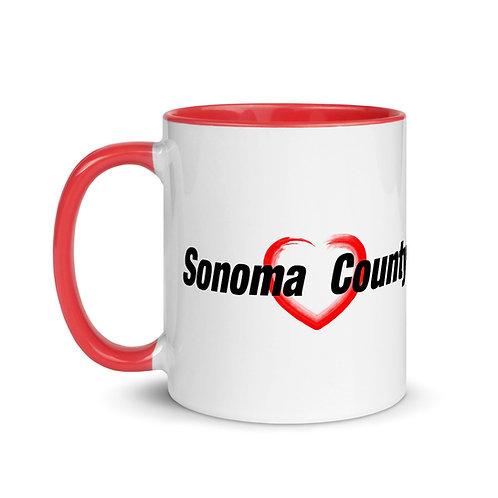 Sonoma County Heart Mug with Color Inside