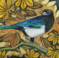 Magpie in the Leaves by Chloe Morter Design