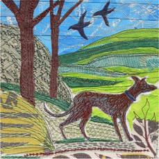 Spring Whippet Greetings Card by Chloe Morter Design
