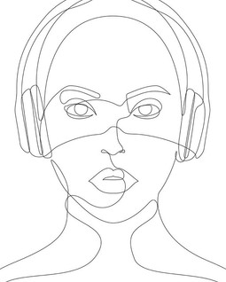 Girl with Headphones #music #sound #art
