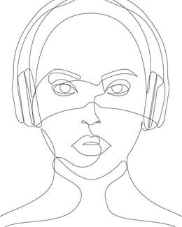 Girl with Headphones #music #sound #art