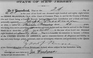 "Hudson County, New Jersey, ""Naturalization Records, 1749-1986,"" FamilySearch (http://familysearch.org accessed : 1 January 2017), entry for Joe Freedman of Russia Poland, 1888; citing Declarations of Intention 1888"