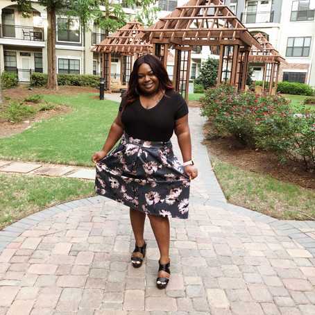 Super-Cute Pink & Gray Floral Skater Skirt | Plus Size