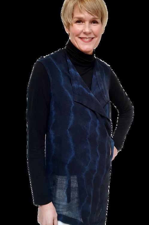 Handwoven Hand-Dyed Linen Shibori Vest