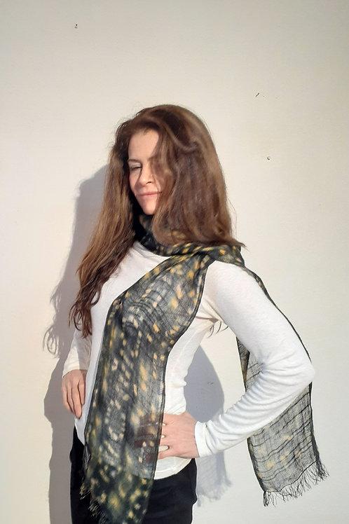 Handwoven Shibori-Dyed Linen Scarf