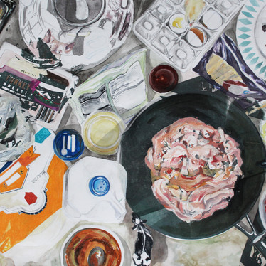 """The Food You are Eating was once a Living Animal  20""""x30"""" Oil, Watercolor, Ink, Colored Pencil, Photo Transfers and Charcoal 2020"""