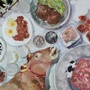 """The Government Decides What You Eat  30""""x40"""" Oil, Watercolor, Ink, Colored Pencil, Photo Transfers and Collaged Images 2020"""