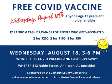 FREE COVID Vaccine Clinic and 12 drawings for CASH totaling $1,000.00 :)