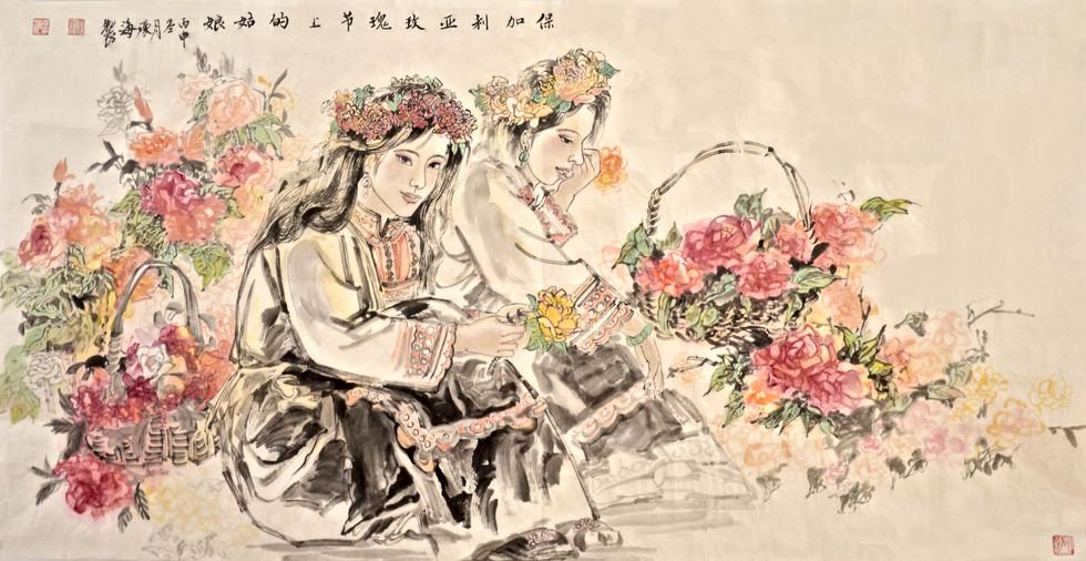 保加利亞玫瑰節上的姑娘