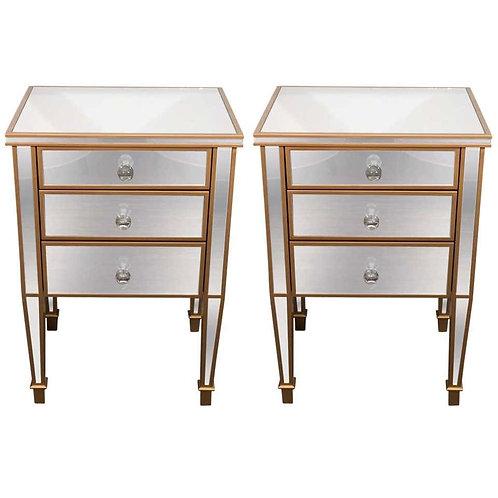 Pair of Gold Trim Mirrored Nightstands