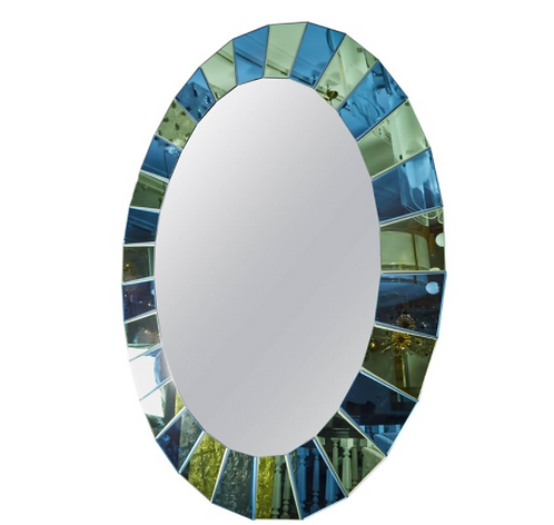 Custom Oval Mirror with Blue and Green Beveled Mirror Squares Surround