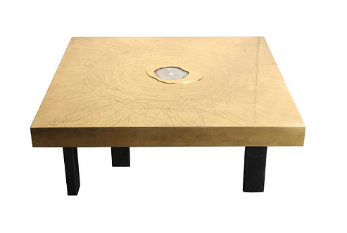 Etched Brass and Agate Cocktail Table Signed, Atom'58
