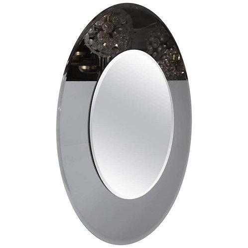 Large Round Beveled Mirror with Smoke Glass Border