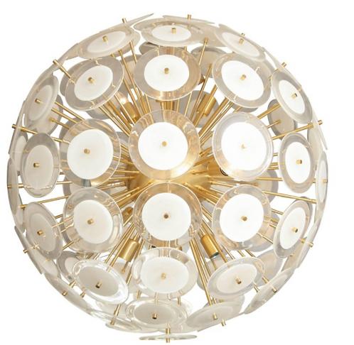 Extra Large White Murano Glass Disc Sputnik Chandelier