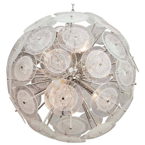 Clear Pulegoso Murano Glass Disc Sputnik Chandelier