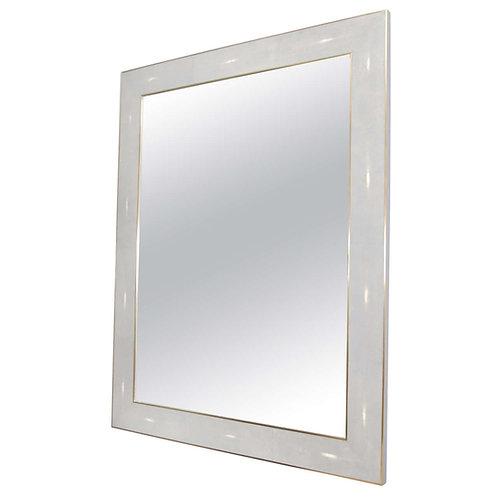 Custom Shagreen Mirror with Brass Edges