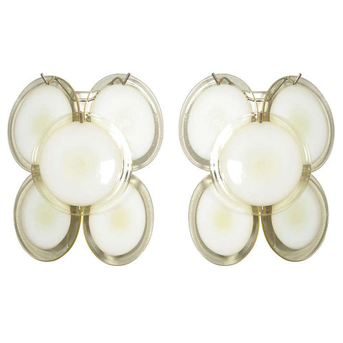 Pair of Vintage Yellow Murano Glass Disc Sconces in the Style of Vistosi