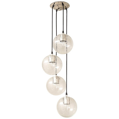 Vintage Limburg Chandelier with 4 Cascading Clear Globe Pendants