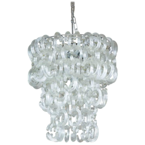 Clear Murano Glass C Link Chandelier