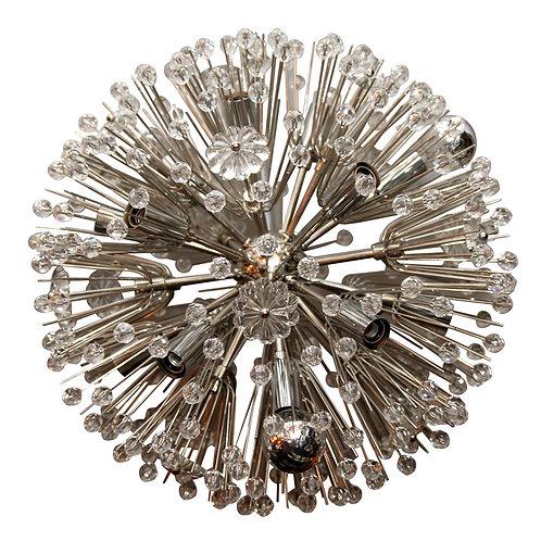 Austrian Snowflake Crystal Chandelier in Nickel Finish