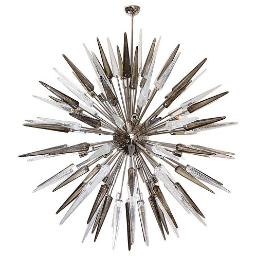 Enormous Clear and Smoke Murano Spike Glass Sputnik Chandelier