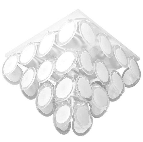 Custom Flush Mount White Murano Disc Lighting Fixture in the Manner of Vistosi