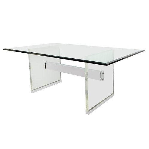 Charles Hollis Jones Dining Table with Lucite Legs