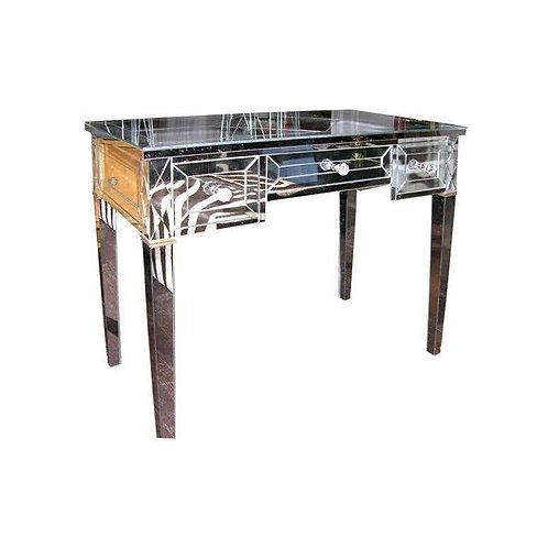 Neoclassical Modern Gold Trim Mirrored Desk with X-Detail
