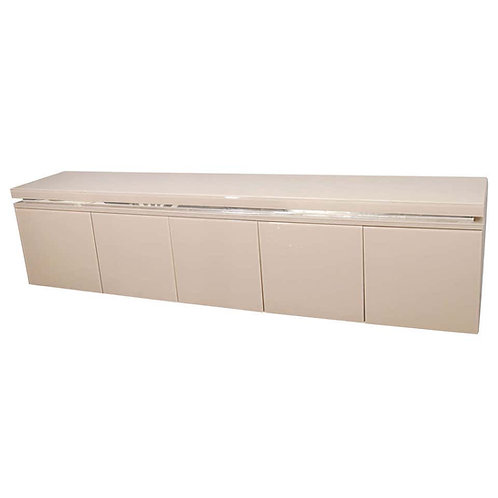 Reverse Painted Glass Wall-Mount Sideboard with Door Panels