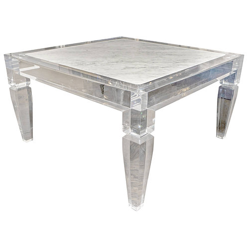 Custom Lucite Table with Carrera Marble Inset Top