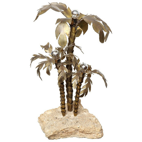 1970's French Brutalist Palm Tree Lamp Table with Natural Stone Base