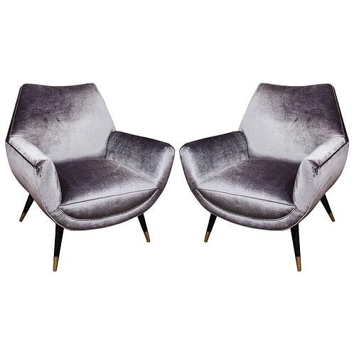 Pair of Custom Mid-Century Style Armchairs