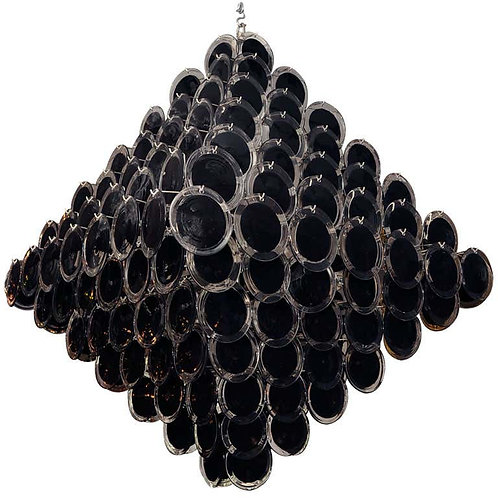 Huge Black Murano Glass Disc Chandelier in Double Pyramid Shape