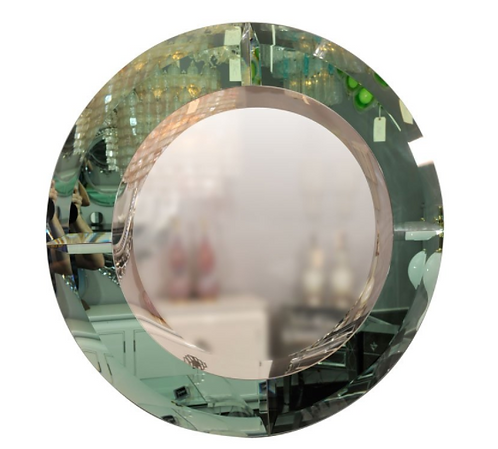 Round Beveled Mirror with Green Glass Border in the Manner of Karl Springer