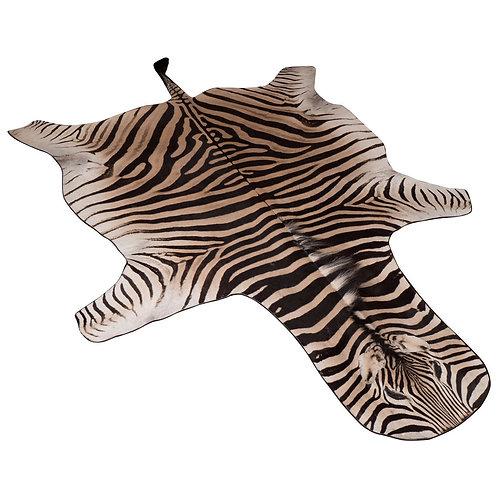 Zebra Rug with Black Felt Backing