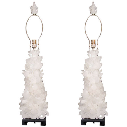 Pair of Custom Clear Quartz Crystal Lamp with Ebony Bases