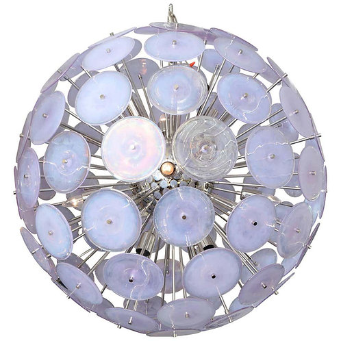 Large Alex Iridescent Murano Glass Disc Sputnik Chandelier