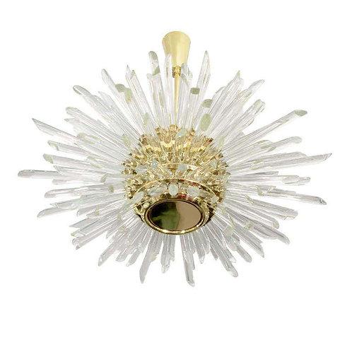 Illuminating Glass Rod Sputnik Chandelier in Polished Brass