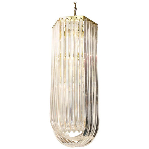 Long Mid-Century Curved Lucite Ribbon Chandelier in Brass