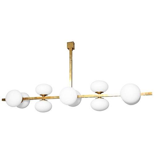 Ten-Globe Opaline Glass Elongated Chandelier