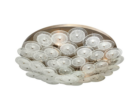 Clear Bubble Murano Glass Disc Flush Mount Light