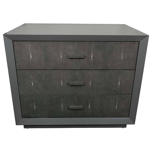 Custom Gray Lacquer Dresser with Genuine Shagreen Drawer Fronts